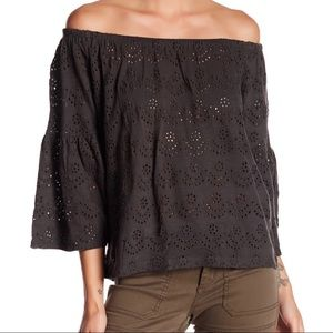 Lucky brand off the shoulder eyelet top size small